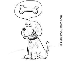 Cartoon dog dreaming about bone - Funny animal character...