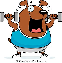 Cartoon Dog Dumbbells