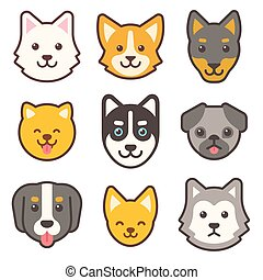 Cartoon dog faces set. Different breeds of dogs cute flat...