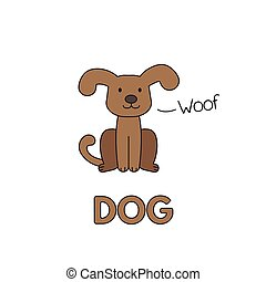 Cartoon Dog Flashcard for Children