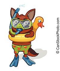 cartoon dog going for a swim. vector image
