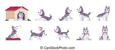 Cartoon dog. Happy flat playful puppy in different poses and doing tricks, cute comic pet with emotions. Vector set of playful animal activity