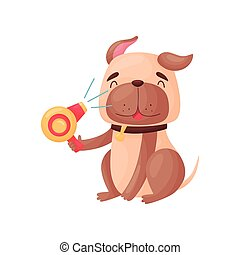 Cartoon dog holding a hairdryer in its paw. Vector illustration on white background.
