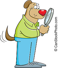 Cartoon dog holding a magnifying gl - Cartoon illustration...