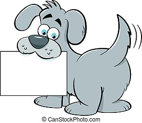Cartoon dog holding a sign.