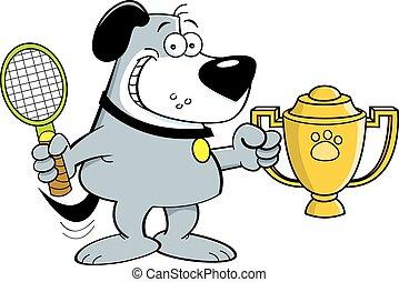 Cartoon dog holding a trophy.
