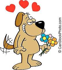 Cartoon dog holding flowers.