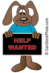 cartoon dog holding up help wanted sign
