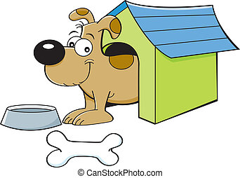 Cartoon dog in a doghouse - Cartoon illustration of a dog in...