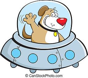 Cartoon dog in a spaceship - Cartoon illustration of a dog...