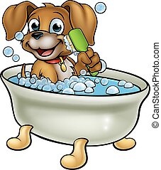 A cartoon dog having a bath with a scrubbing or grooming brush