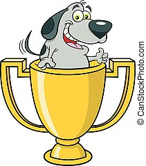 Cartoon dog inside a trophy cup giving thumbs up.