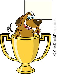 Cartoon dog inside a trophy cup holding a sign.