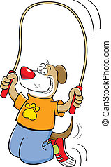 Cartoon dog jumping rope