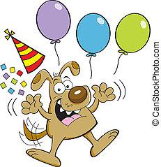 Cartoon dog jumping with balloons