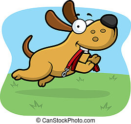 Cartoon Dog Leash - A cartoon dog jumping with a leash in...