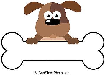 Cartoon Dog Over A Bone Banner - Cartoon Brown Dog Over A...