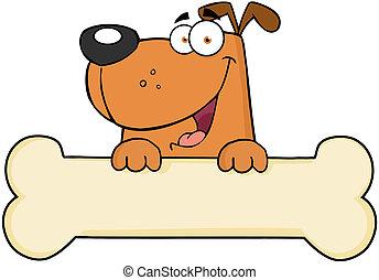 Cartoon Dog Over Bone Banner - Cartoon Happy Dog Over Bone...
