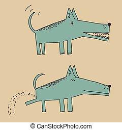 Cartoon dog peeing