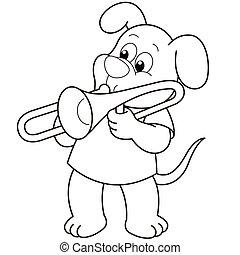 Cartoon Dog Playing a Trombone - Cartoon Dog playing a...