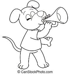 Cartoon Dog Playing a Trumpet - Cartoon Dog playing a...