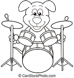 Cartoon Dog Playing Drums. black and white