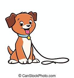 Vector cartoon cute puppy on a leash