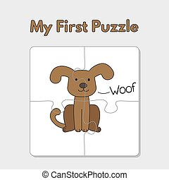 Cartoon Dog Puzzle Template for Children