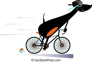 Cartoon dog rides a bike isolated - Smiling dog rides a bike...