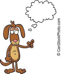 Cartoon dog says