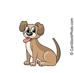 Cartoon Dog Sitting in Collar, Funny Pooch Isolated on White Background