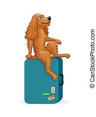Cartoon dog sitting on a suitcase
