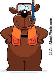 Cartoon Dog Snorkeling