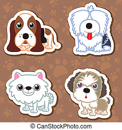cartoon dog sticker set. - illustration of four cartoon cute...