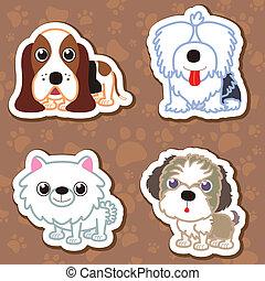 cartoon dog sticker set. - illustration of four cartoon cute...