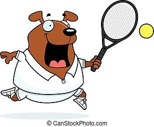 Cartoon Dog Tennis