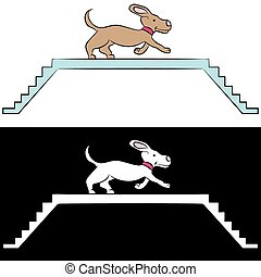 Cartoon Dog Training on Ramp