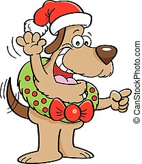 Cartoon Dog Wearing a Christmas Wre