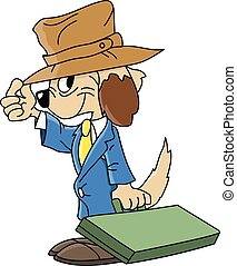 Cartoon dog wearing a suit going to work vector illustration