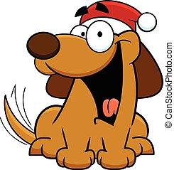 Cartoon Dog Wearing Santa Hat