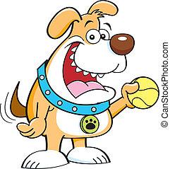 cartoon dog with a ball.