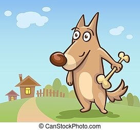 cartoon dog with a bone on the background of rural areas