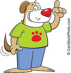 Cartoon dog with an idea