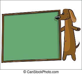 cartoon dog with banner for text