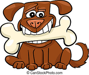 Cartoon Dog with big bone - Cartoon Illustration of Funny...