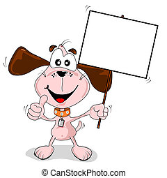 Cartoon dog holding a blank placard sign with copy space