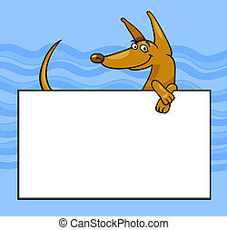 cartoon dog with board or card