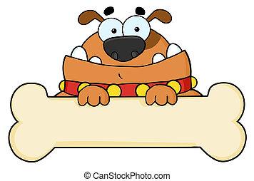 Cartoon Dog With Bone Banner - Brown Dog Over A Blank Bone...