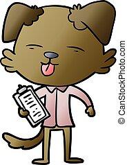 cartoon dog with clip board