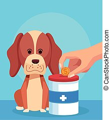 cartoon dog with donation tin and hand with money coin